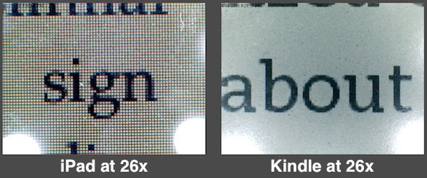 ipad vs kindle screen
