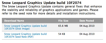 mac os x snow leopard graphics update