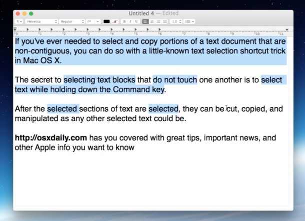 Selecting noncontiguous text in Mac OS X