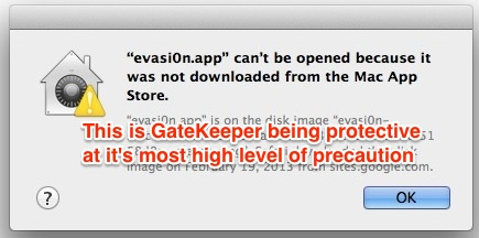 Strict gatekeeper warning about downloaded file and application