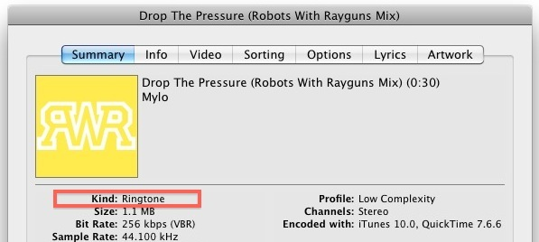 itunes 10 ringtone file
