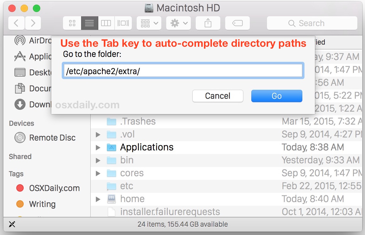 Tab complete Go To Folder in Mac OS X