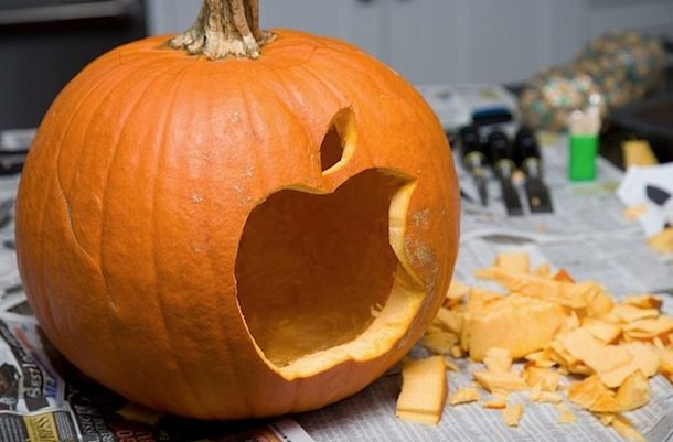 Apple logo pumpkin
