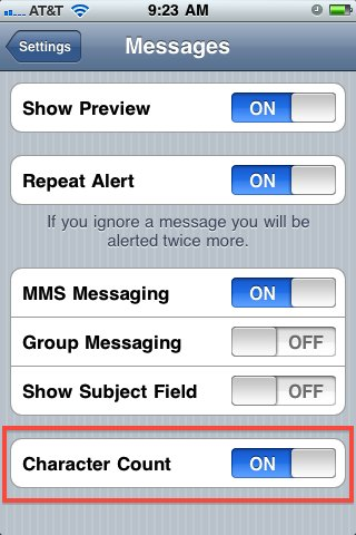 display sms character count iphone
