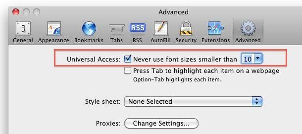 increase font size safari