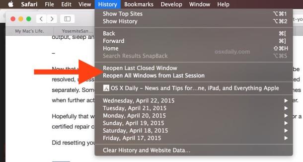Re open last sessions in Safari Mac OS X