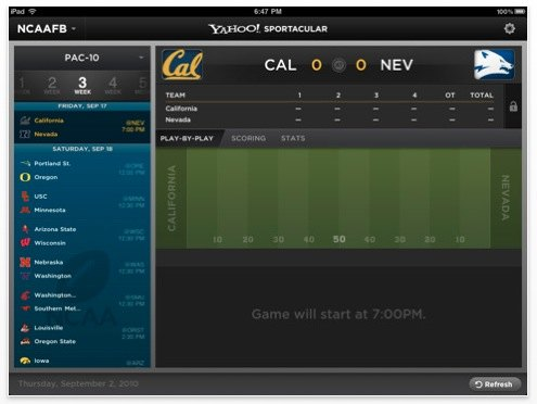 sportacular college football iphone app