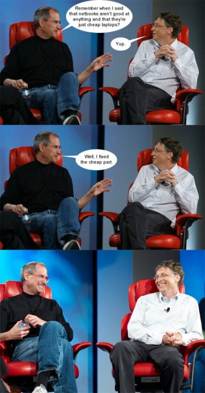 steve jobs bill gates talk netbooks macbook air