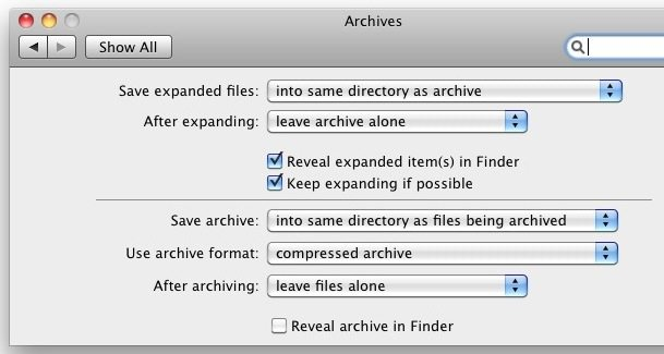 archives preference pane