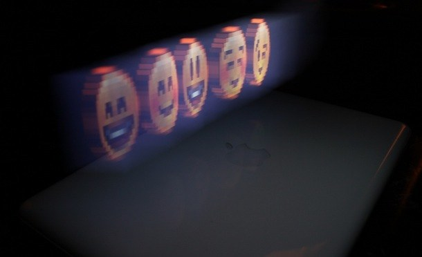 hologram smiley face iphone
