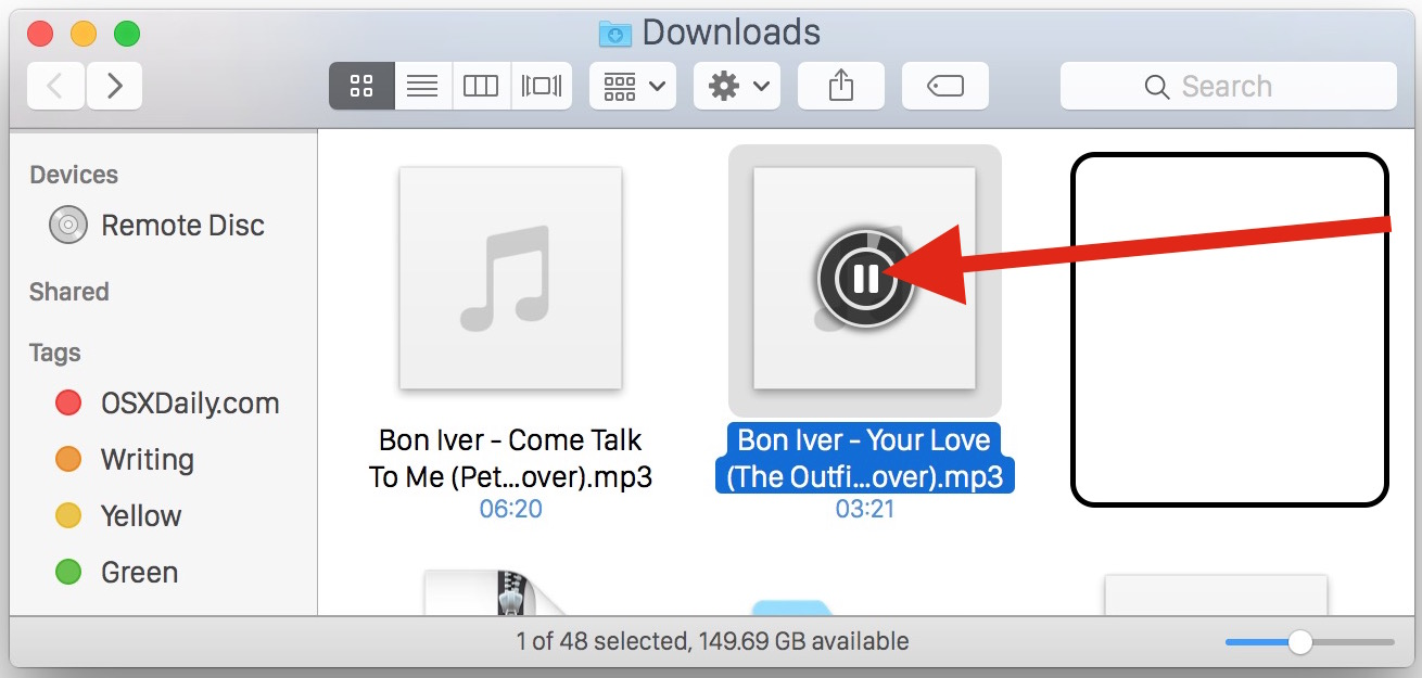 Playing audio files in the Finder of Mac OS X using icons