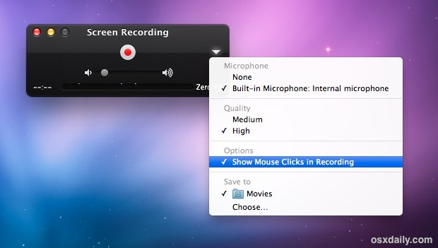 Screen Recording in Mac OS X options