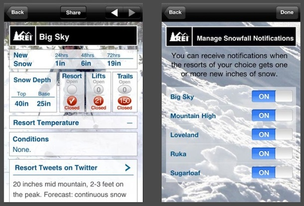 snow ski report iphone app