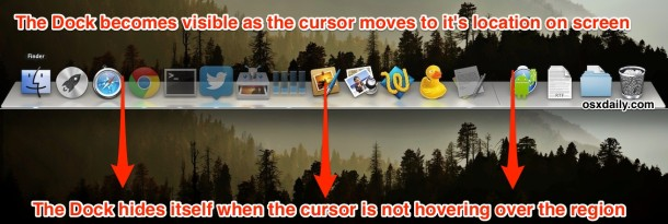 Automatically hide the Dock in Mac OS X when not in use
