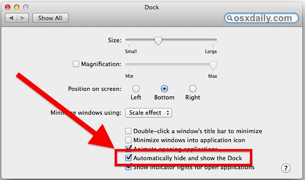 Automatically hide and show the Dock in Mac OS X