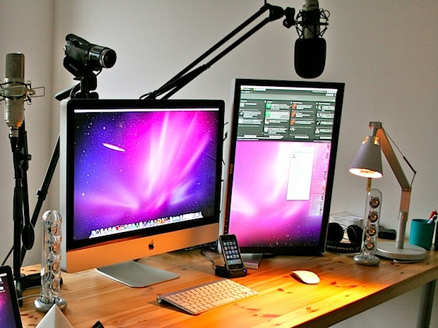iMac with an external display rotated vertically
