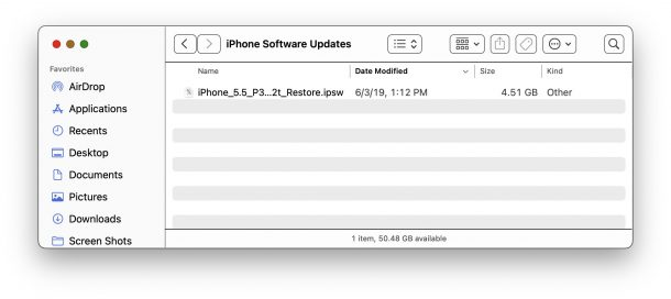 IPSW file location in macOS Finder