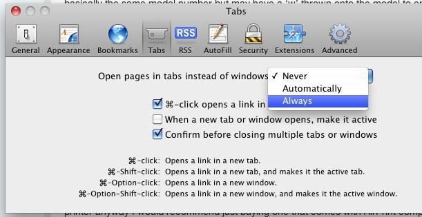 open new window in tab safari