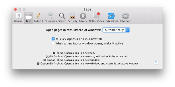 Safari always open new windows into tabs