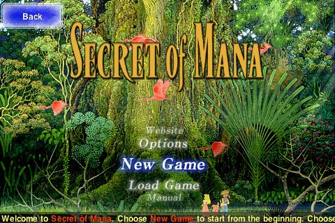 secret of mana iphone start screen