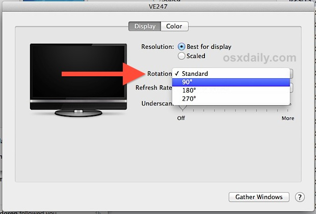 Set a Mac display rotation in OS X