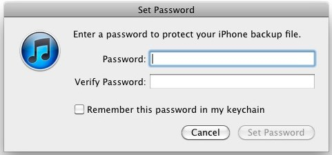 encrypt iphone backup password