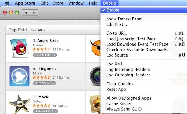 mac app store debug menu