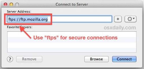 Use FTPS for a secured FTP connection in Mac OS X
