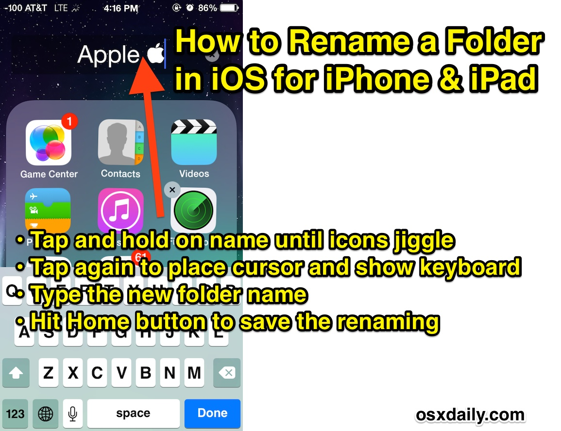Rename a Folder in iOS