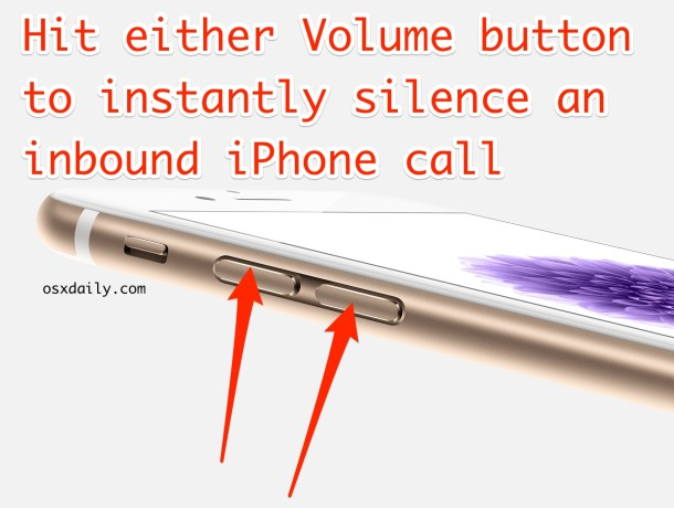 Silence an iPhone call with the volume buttons