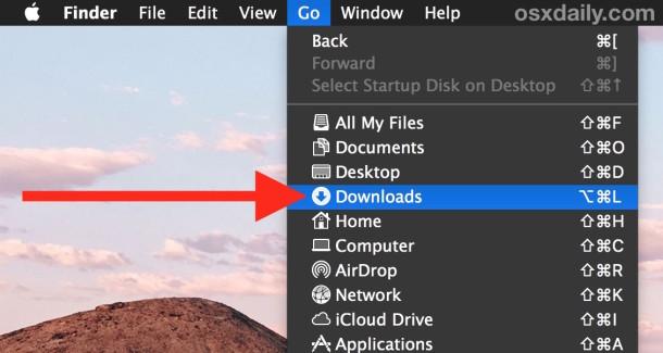 Go to Downloads folder in Mac OS X