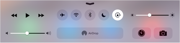 Orientation Lock button in iOS Control Center for iPad