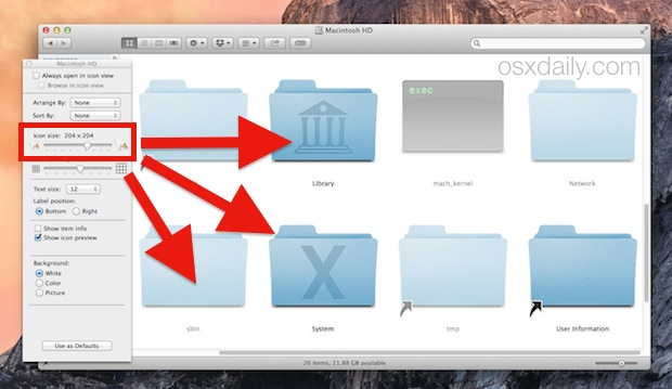 Make icons bigger in Mac OS X Folder windows