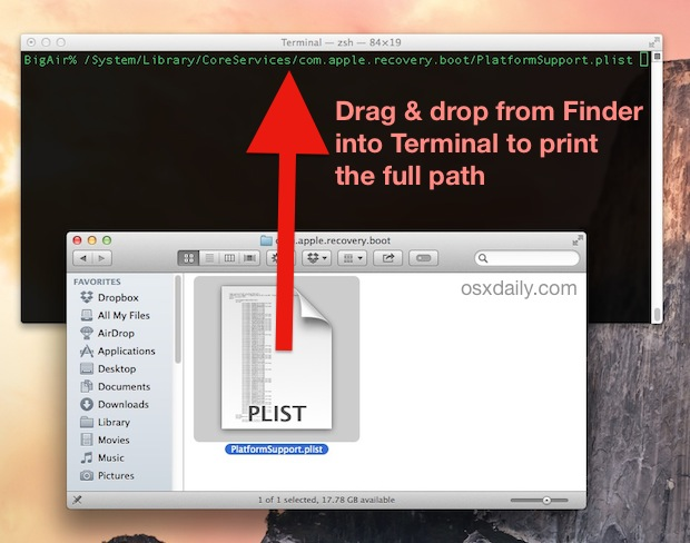 Printing a path from Finder to the Terminal in Mac OS X
