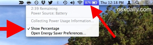 Show battery remaining of MacBook in OS X