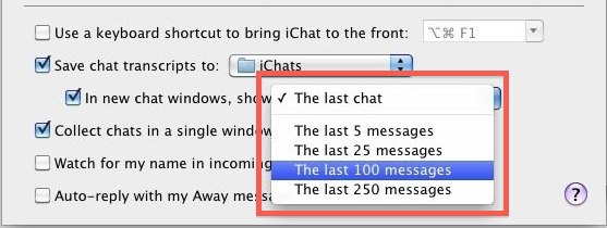 show past messages ichat