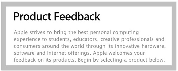 Apple product feedback