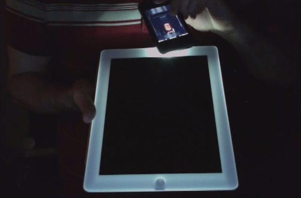 glowing white iPad 2 frame