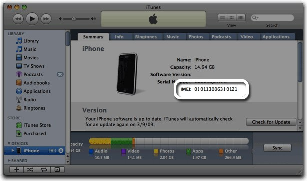 Finding the iPhone IMEI number
