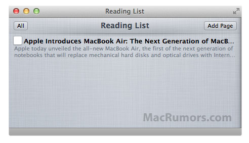 Mac OS X Lion Reading List feature