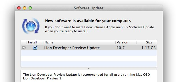 Mac OS X Lion Dev Preview 2 Update 2
