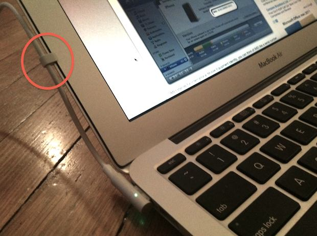 Magsafe clipped to side of MacBook Air