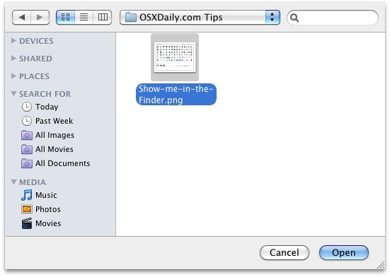 Reveal Finder location of item from Open and Save dialog box