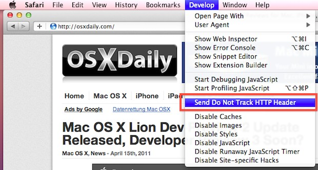 Safari Lion Do Not Track HTTP Header