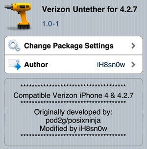 Untether Verizon iPhone iOS 4.2.7 Tool