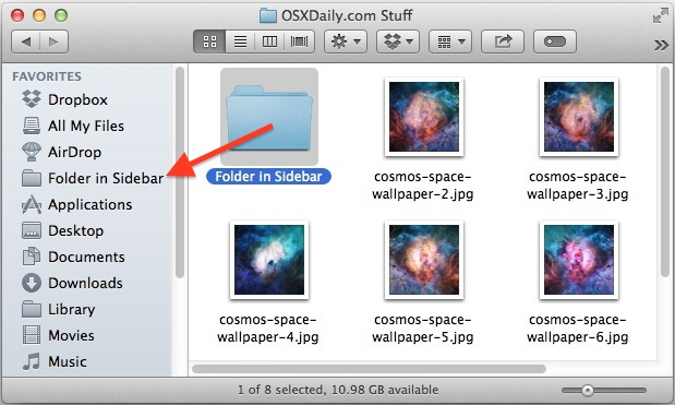 Add folders to the sidebar of Mac OS X