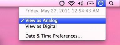 Mac OS X Menubar clock settings to View as Analog