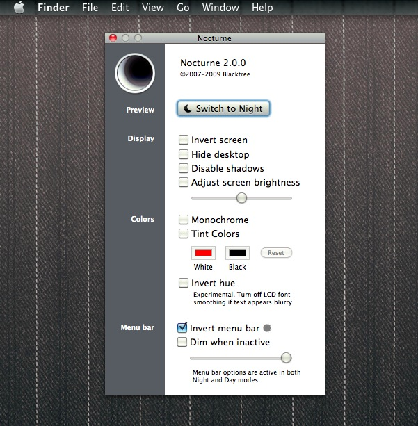 Black menu bar or dimmed menu bar in Mac OS X