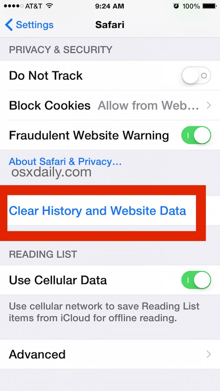 Clear website history and data from Safari in iOS