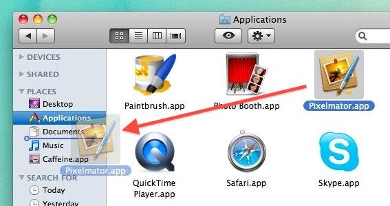 Drag Apps to Finder Window Sidebar